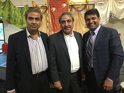 Dr Harish Hosalkar (President of SAPI-San Diego Association of Physicians of Indian Origin) with Pradeep Khosla ( Chancellor, University of California, San Diego), and Naresh Soni (President of TiE, Southern California) as Guests of Honor at the 'Passage to India'- Event, in Encinitas, on 28th August 2015.