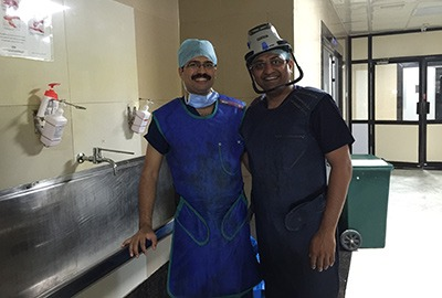 Dr Hosalkar discussing patient-care and management options with Dr Rajkumar at Ganga Hospital, Coimbatore.