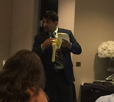 Dr Harish Hosalkar explaining mechanics of Hip and Spine injuries during an Invited lecture on 'Musculoskeletal Injuries in Vehicular Accidents' at the 'CASD- Consumer Attorneys of San Diego' Meeting held in San Diego on August 25th, 2015.