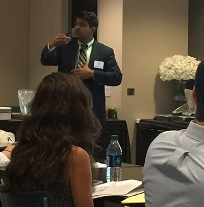 Dr Harish Hosalkar explaining relevant points during an Invited lecture on 'Musculoskeletal Injuries in Vehicular Accidents' at the 'CASD- Consumer Attorneys of San Diego' Meeting held in San Diego on August 25th, 2015.