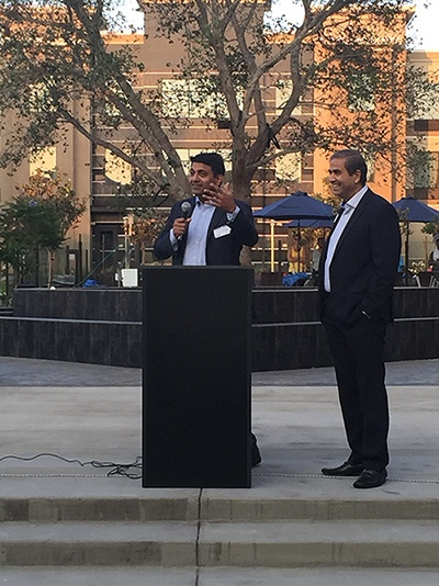 SAPI President Dr Hosalkar with TiE- So-Cal President Naresh Soni at the welcome ceremony for the SAPI-TiE event in Carlsbad, June 20th, 2015