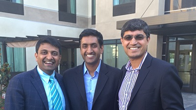 SAPI President Dr Hosalkar with 'Ro Khanna' and Rohit Loomba, MD (SAPI member and well-known and renowned Hepatologist at UCSD- at the SAPI-TiE event in Carlsbad