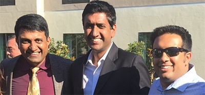 SAPI President Dr Hosalkar with 'Ro Khanna' and Neerav Jadeja (Chief Administrator Paradise Valley Hospital) at the SAPI-TiE event in Carlsbad