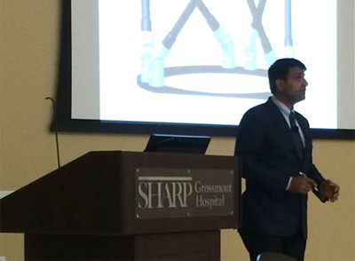 Dr Hosalkar presenting grand rounds at the Sharp Grossmont Hospital in September 2014